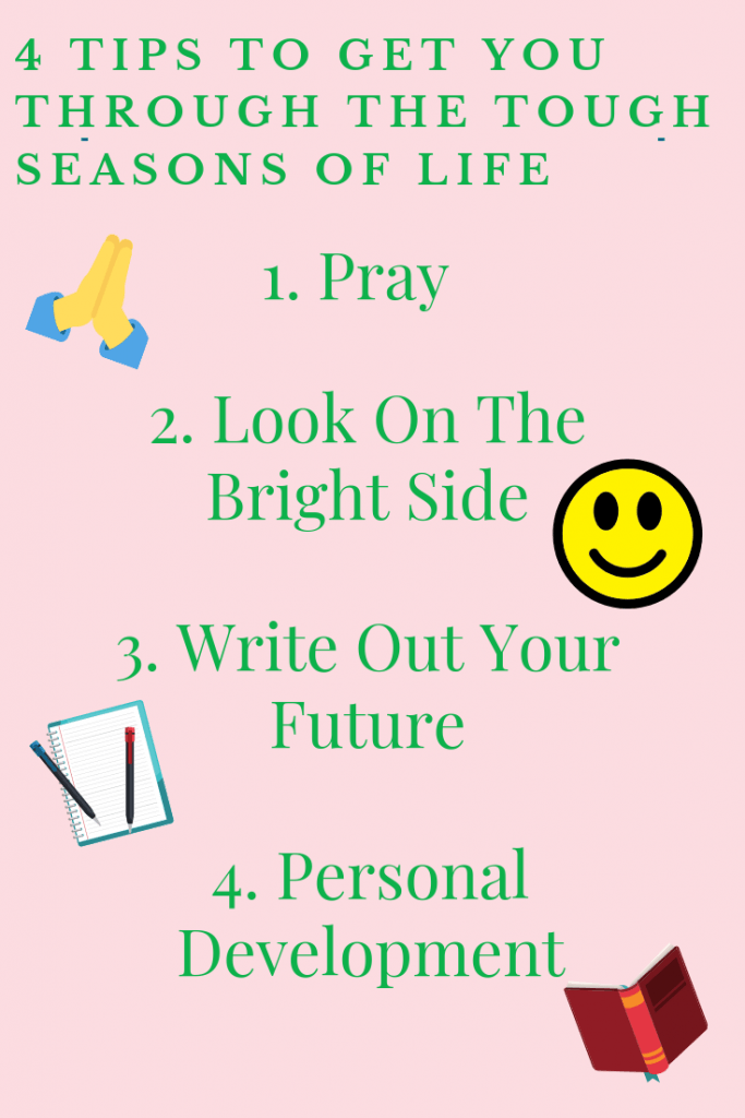 List: pray, look on bright side, write it out, personal development