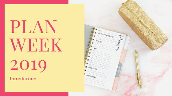 Plan Week with planner and gold pen