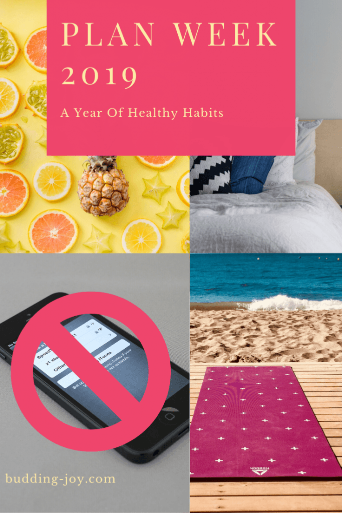 healthy habits: healthy eating, sleep, no phone, exercise