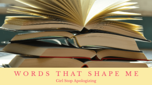 Girl Stop Apologizing, stack of books